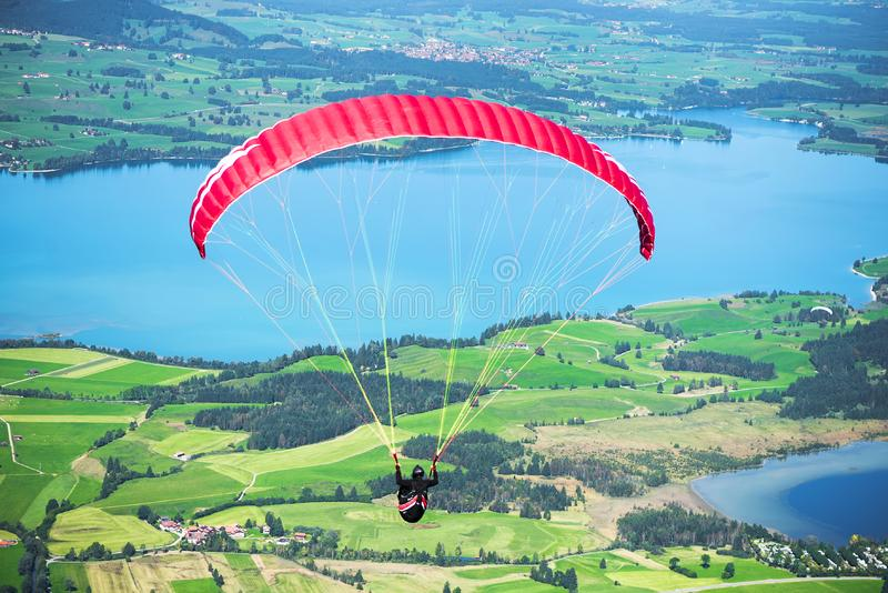 Alpine paragliding stock images