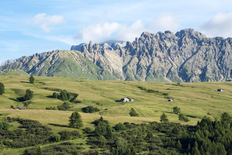 Alpine pastures in front of Dolomites Alpe di Siusi, South Tyrol stock photography