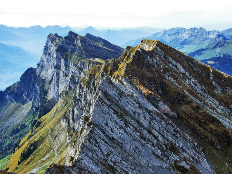 Alpine peaks in the Churfirsten mountain chain between Thur river valley and Walensee lake. Canton of St. Gallen, Switzerland stock photos