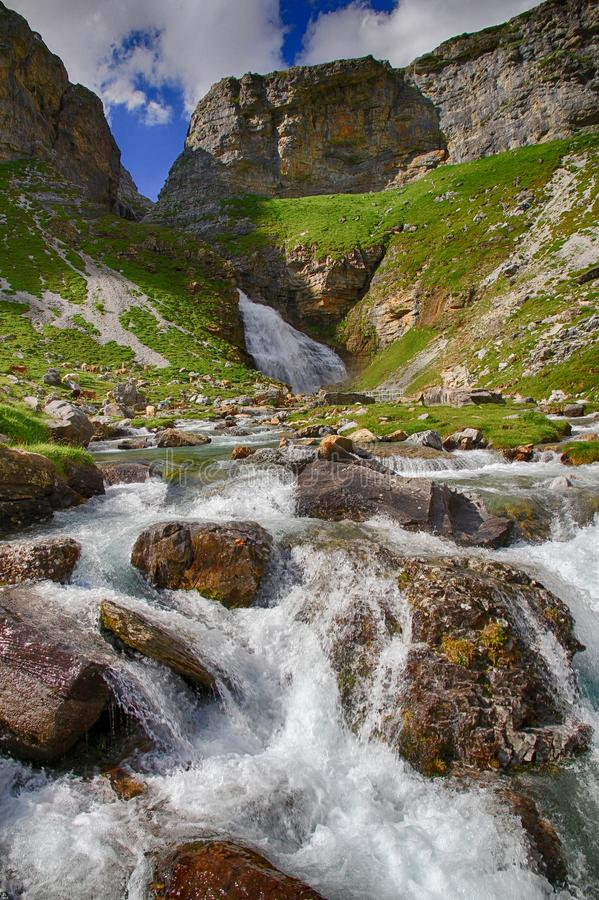 Alpine river in Ordesa National Park in Aragon, Spain. royalty free stock photography