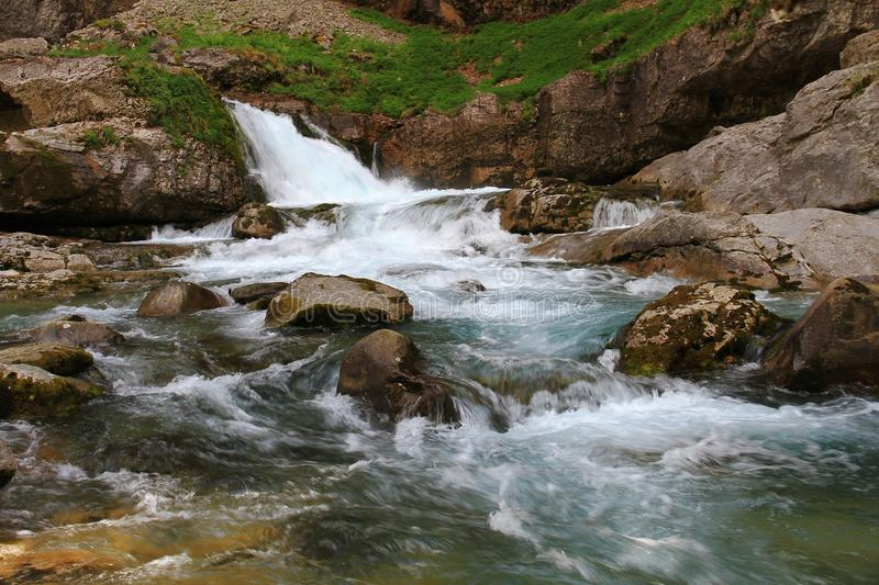 Alpine river in Ordesa National Park in Aragon, Spain. royalty free stock photos