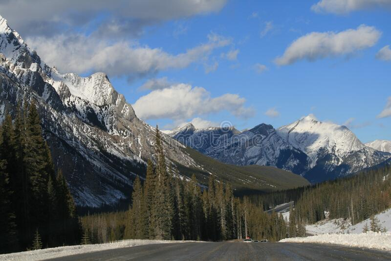 Alpine road on sunny day royalty free stock photography