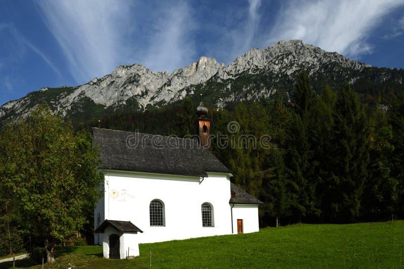 Church in Barnstatt, Wilder Kaiser, Tirol, Austria. Alpine scenery under Schefauer peak in Wilder Kaiser mountains in Tirol - Austria royalty free stock images