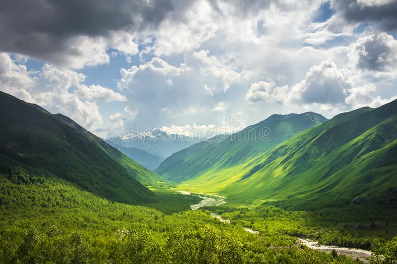 Alpine scenery. Wonderful mountain landscape of Svaneti highlands on sunny bright day. Beautiful georgian Caucasus mountains stock photos