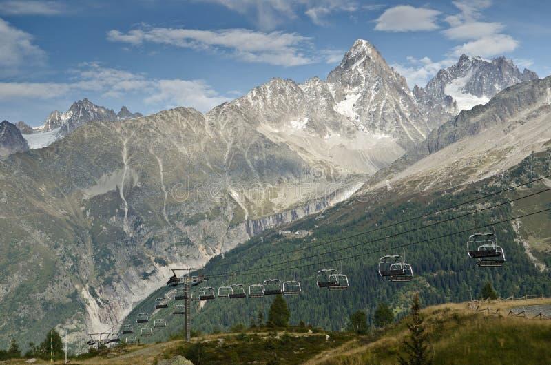 Alpine ski lifts royalty free stock images