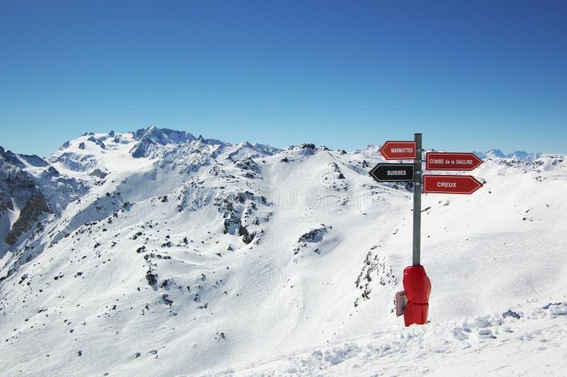 Alpine ski resort view stock image