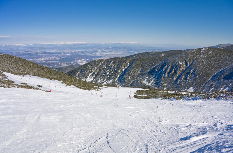 Alpine ski slope at winter Bulgaria