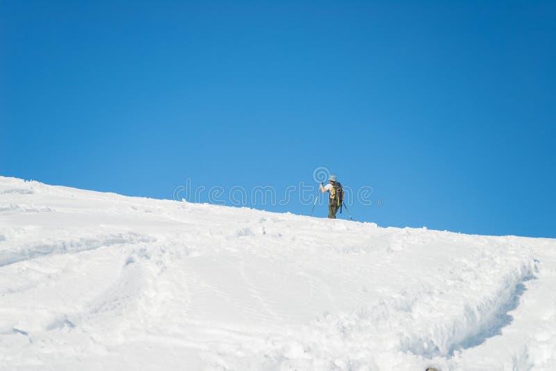 Alpine ski touring towards the summit royalty free stock photo