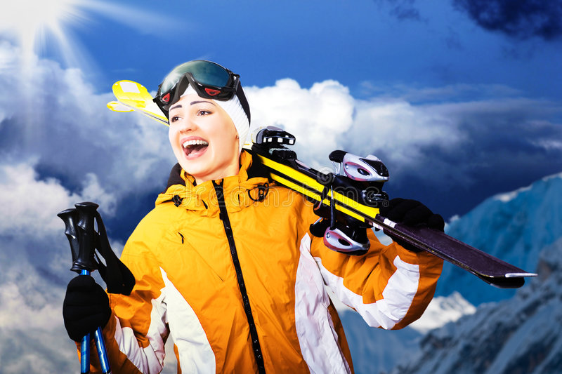 Alpine skiing royalty free stock images