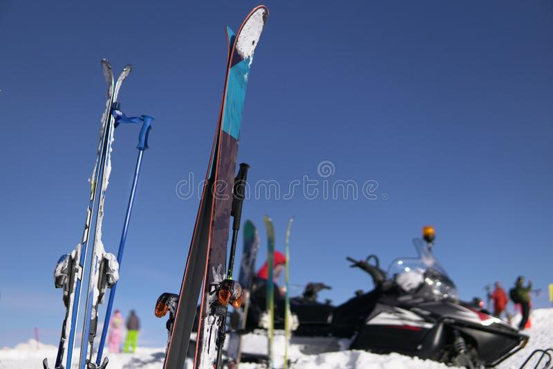 Alpine snowboards winter sports resort blue sky winter ski resort. Snow mountains, blue sky winter ski resort stock images