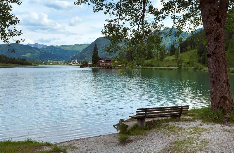 Alpine summer lake view stock photos