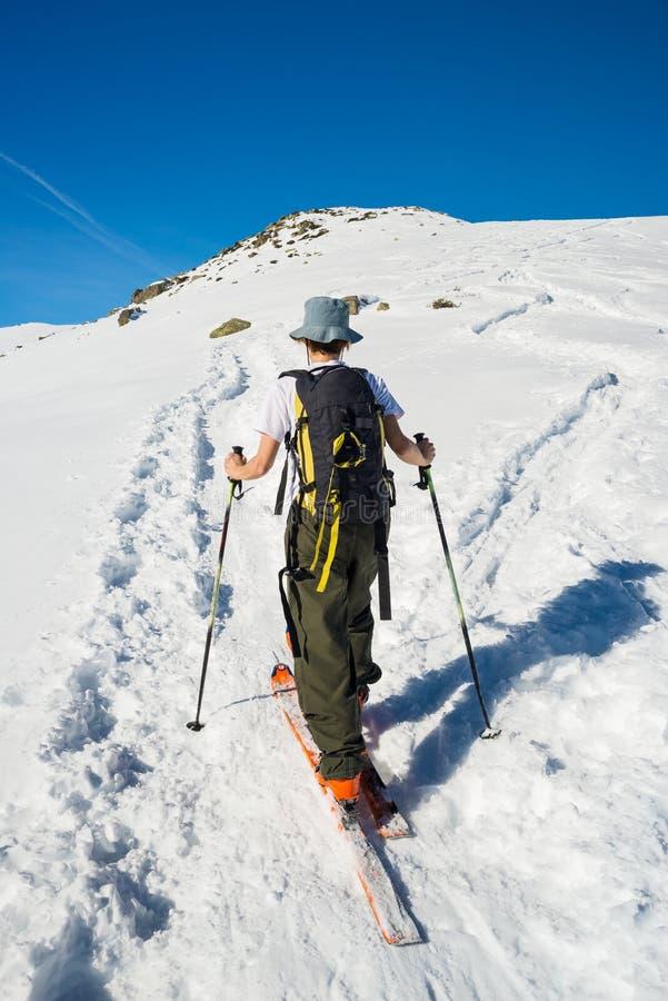 Alpine touring towards the summit royalty free stock photo