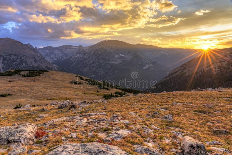 Last Rays of Sun on Ute Crossing. Alpine tundra on the Ute Crossing Trail looking Southwest toward the Continental Divide off Trail Ridge Road in Rocky Mountain royalty free stock photography
