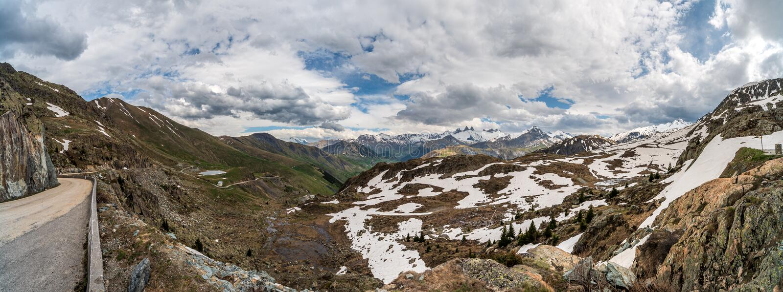 Alpine valley in spring panorama royalty free stock photography