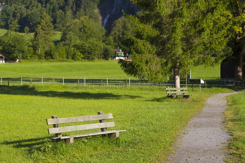 Alpine valley. Summer in Swiss Alps royalty free stock images