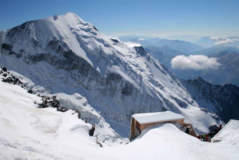 Alpine view. High alpine mountain - French Alps. Aig. de Bionnassay (4052m royalty free stock photo