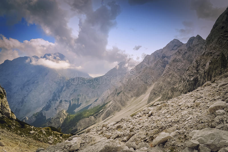 Alpine view. Views of Alpine peaks that rise to the mighty heights stock photography