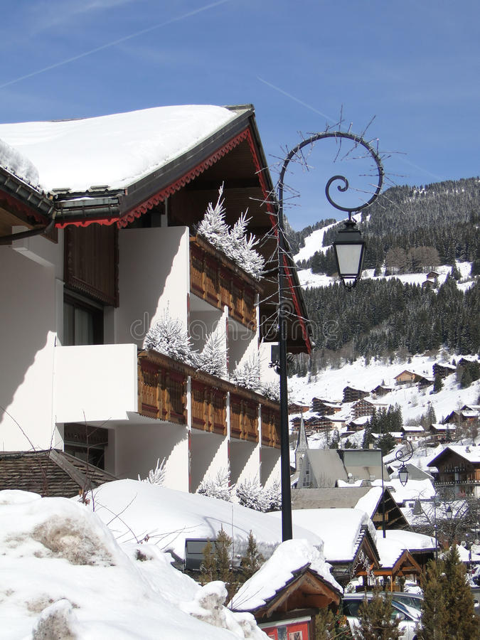 Alpine village and chalets. In Chatel,French Alps, France stock image