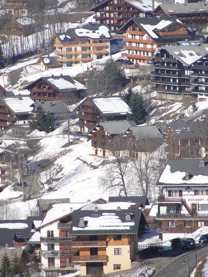 Alpine village and chalets. In Chatel,French Alps, France royalty free stock photo