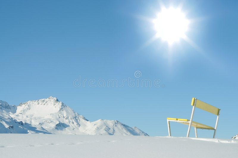 Alpine winter landscape. Winter landscape in the swiss alps royalty free stock photo