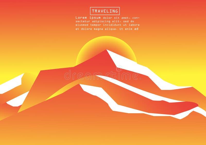 Alpinisme en het Reizen Vectorillustratie Landschap met bergpieken Extreme Sporten, Vakantie en Openluchtrecreatie C royalty-vrije stock fotografie