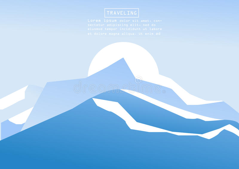 Alpinisme en het Reizen Vectorillustratie Landschap met bergpieken Extreme Sporten, Vakantie en Openluchtrecreatie C royalty-vrije stock foto's