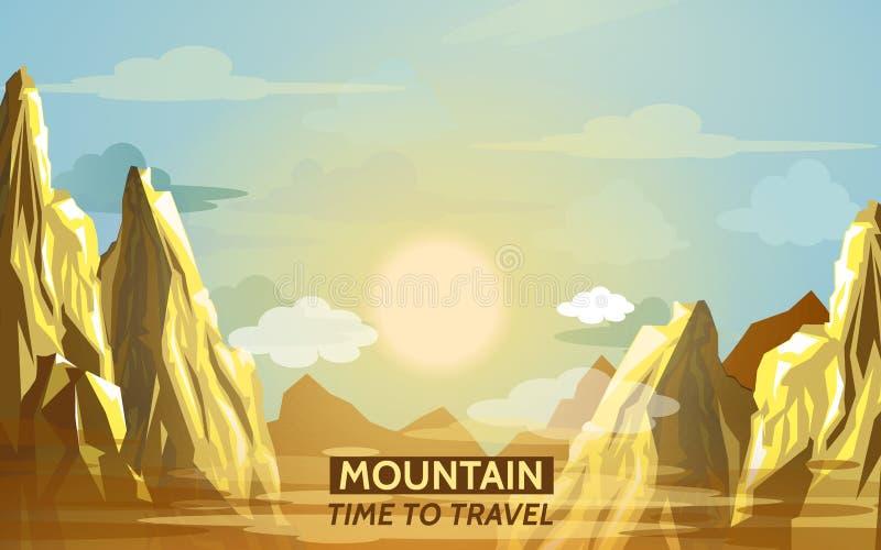 Alpinisme en het Reizen Vectorillustratie Landschap met bergpieken Extreme Sporten, Vakantie en Openlucht stock illustratie