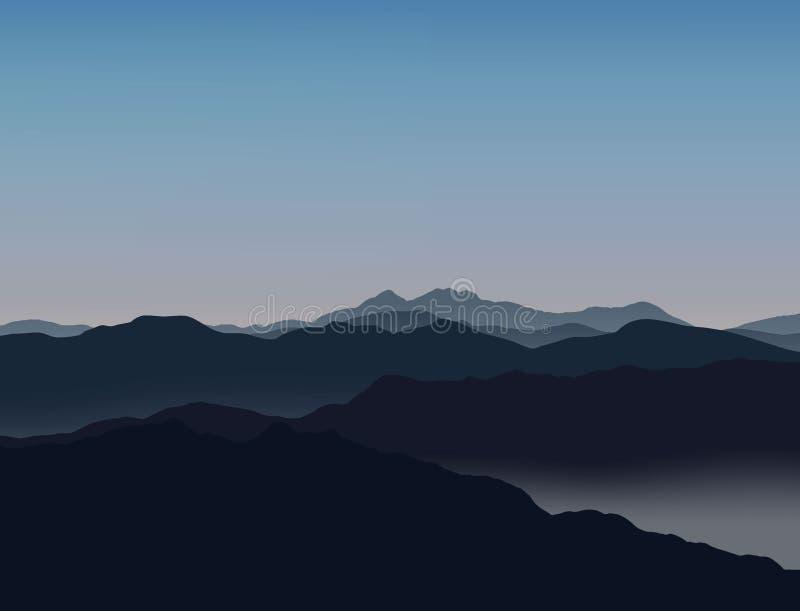 Alpinisme et illustration de déplacement de vecteur Horizontal avec des crêtes de montagne illustration libre de droits