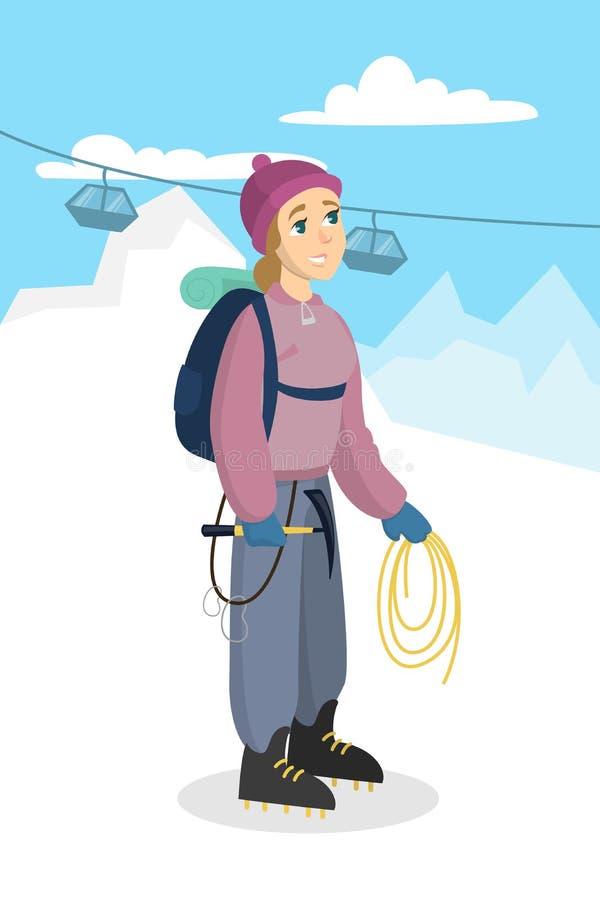 Alpinismo da mulher ilustração royalty free