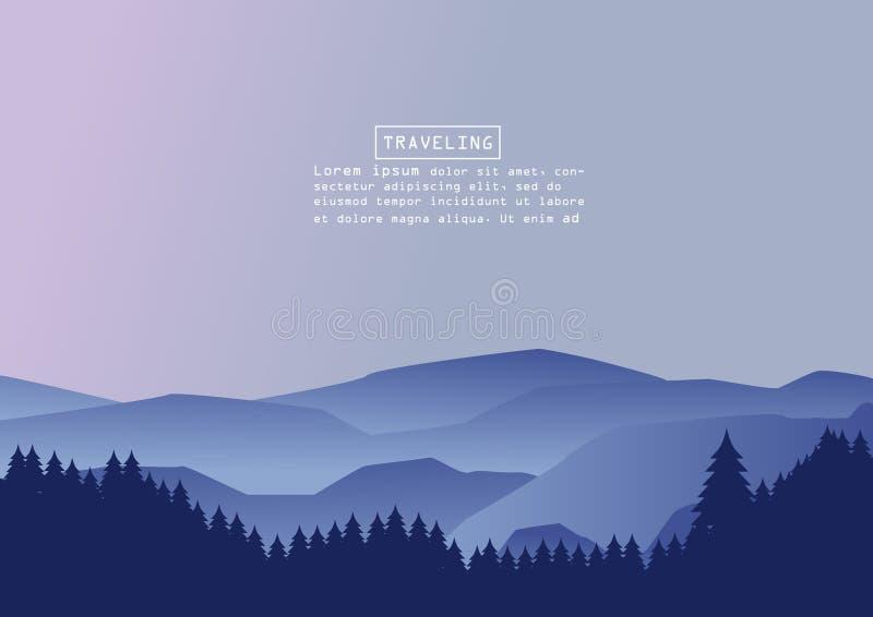 Alpinismo e ilustração de viagem do vetor Paisagem com picos de montanha Esportes extremos, férias e recreação exterior C foto de stock royalty free