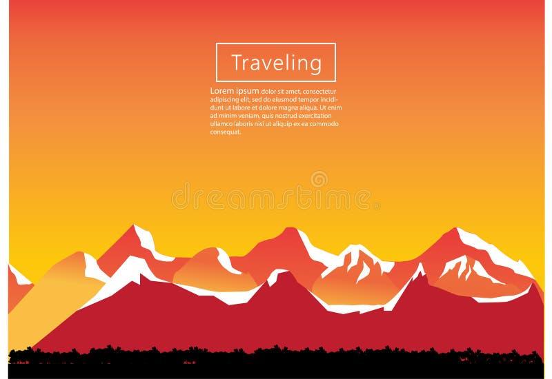Alpinismo e ilustração de viagem do vetor Paisagem com picos de montanha Esportes extremos, férias e recreação exterior C ilustração royalty free