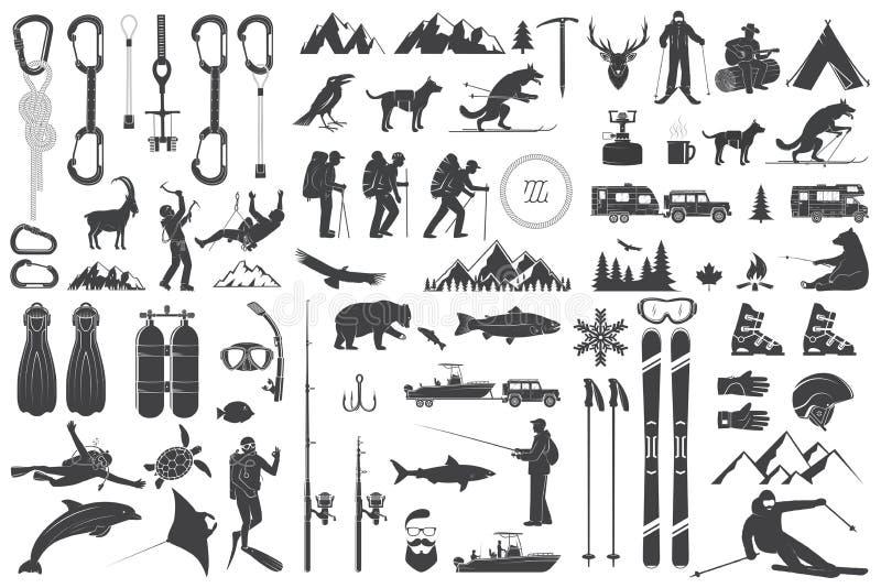 Alpinismo, facendo un'escursione, scalando, icone di avventura pescando, sciando ed altro illustrazione di stock