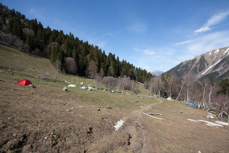 Early spring in Caucasian mountains stock images