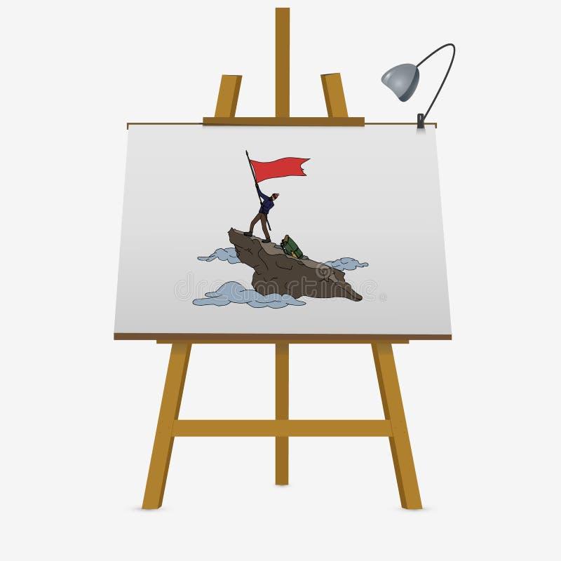 Alpinist with flag stock illustration