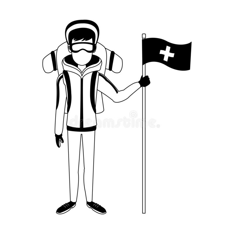 Alpinist man cartoon in black and white stock illustration