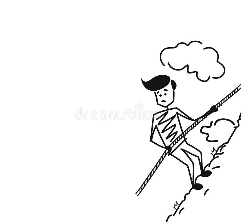 Alpinist som upp klättrar det höga berget med det speciala kabelrepet bara royaltyfri illustrationer