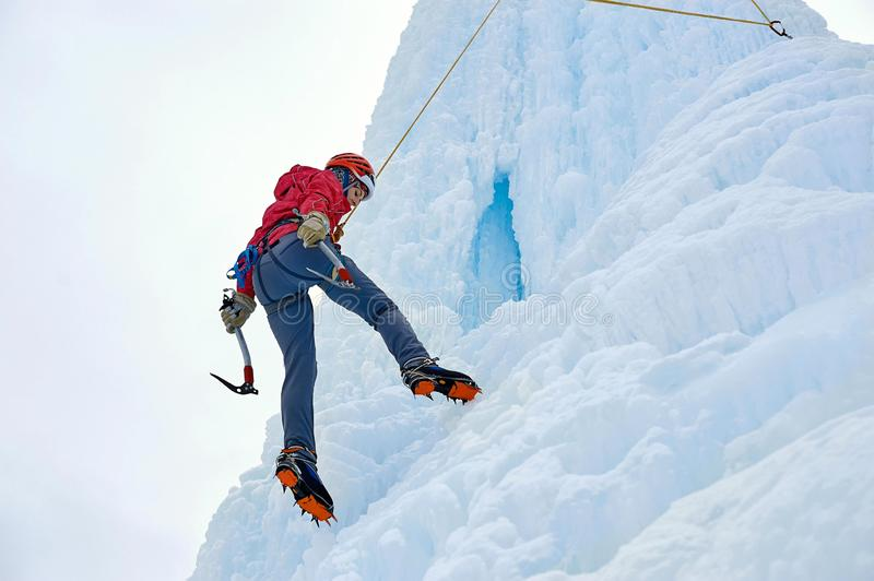 Alpinist woman with ice tools axe in orange helmet climbing a l. Arge wall of ice. Outdoor Sports Portrait royalty free stock photo