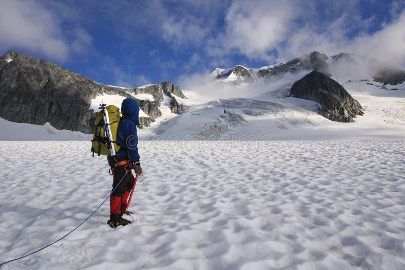 Alpinista che attraversa il ghiacciaio di Wedgemount in Garibaldi Park fotografia stock libera da diritti