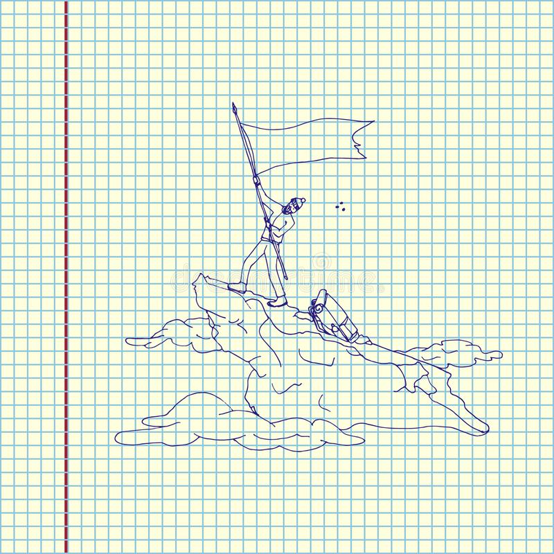 Alpinista con la bandiera immagine stock