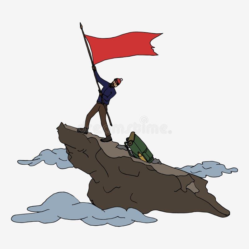Alpinista con la bandiera fotografia stock libera da diritti