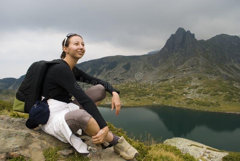 Alpinista di riposo immagine stock libera da diritti