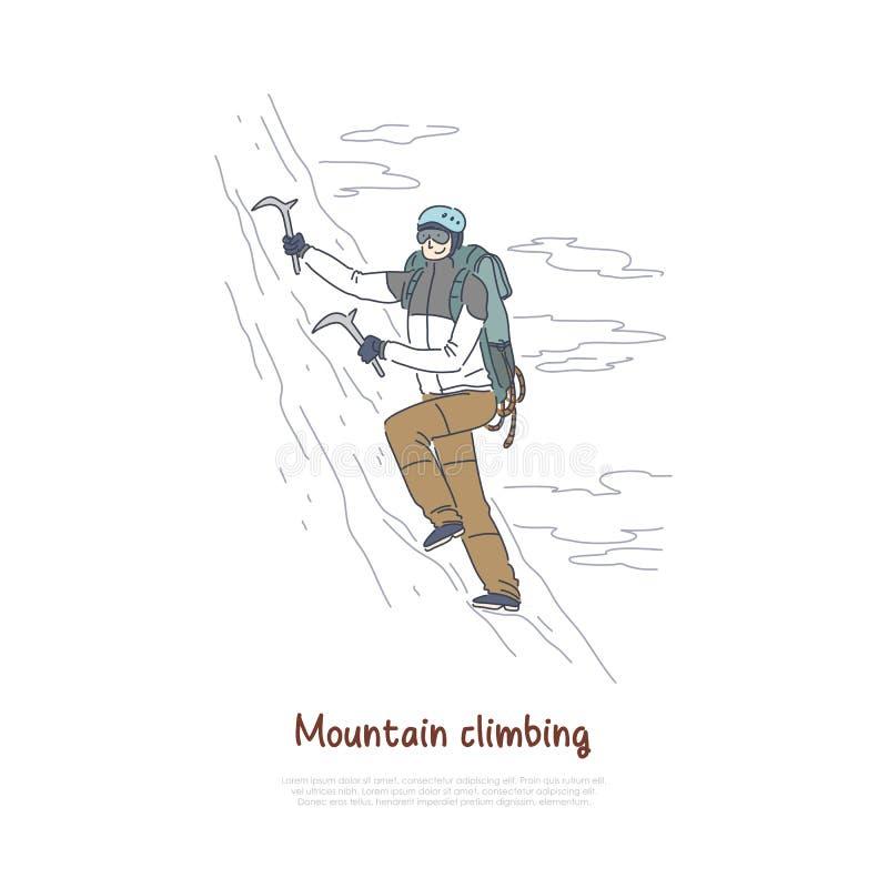 Alpiniste à l'aide des outils d'alpinisme et de l'équipement, glace s'élevant, sport extrême, bannière active de vacances de vaca illustration libre de droits