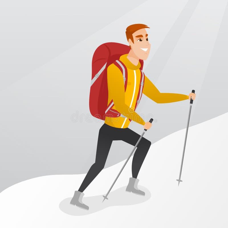 Alpiniste caucasien montant une arête neigeuse illustration libre de droits