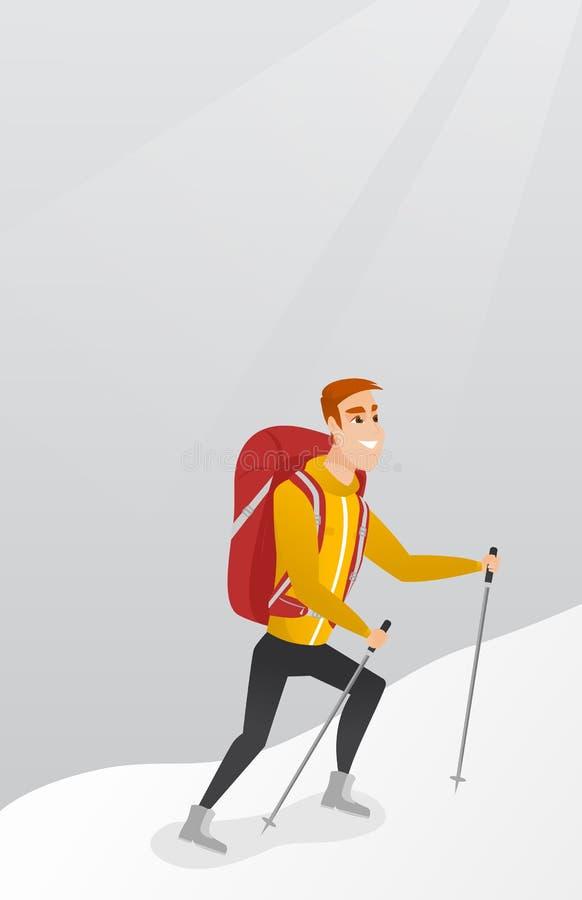 Alpiniste caucasien montant une arête neigeuse illustration stock