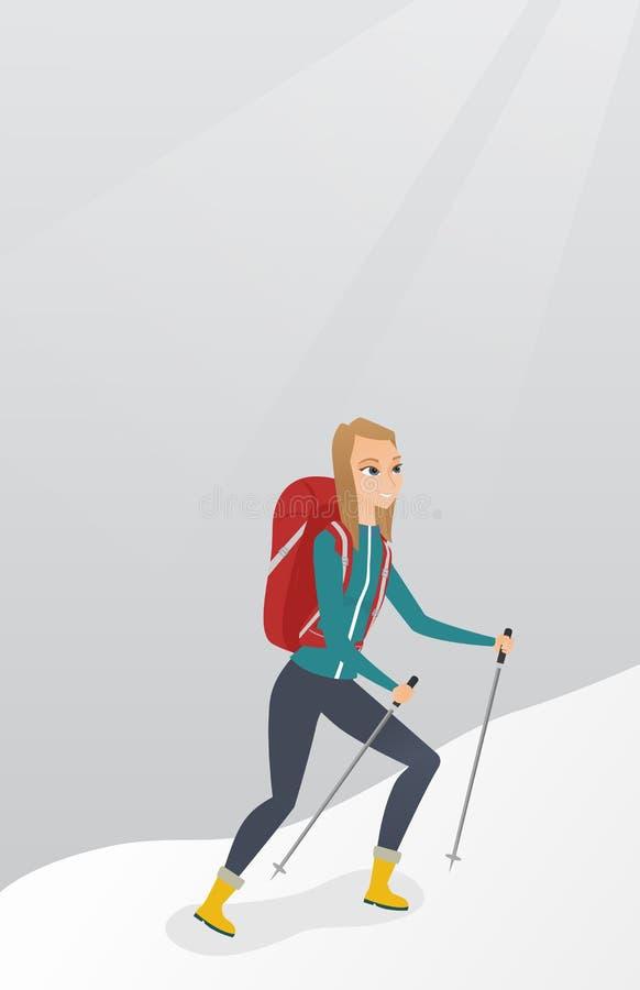 Alpiniste caucasien montant une arête neigeuse illustration de vecteur