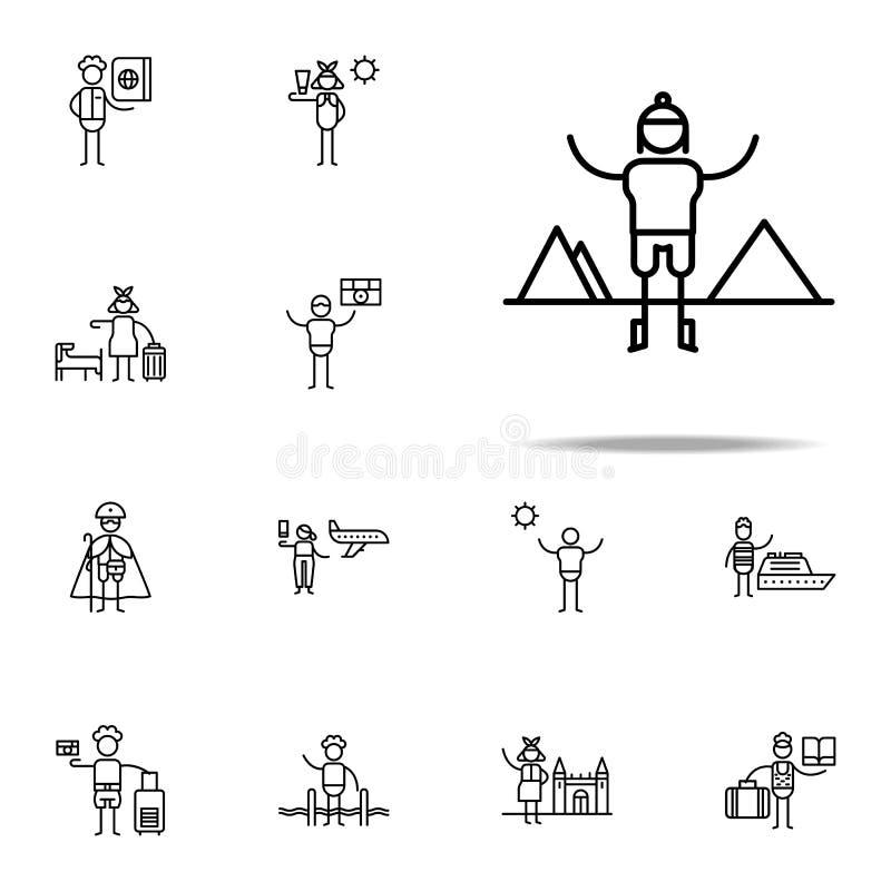 Alpiniste, icône de voyage Ensemble universel d'icônes de voyage pour le Web et le mobile illustration libre de droits
