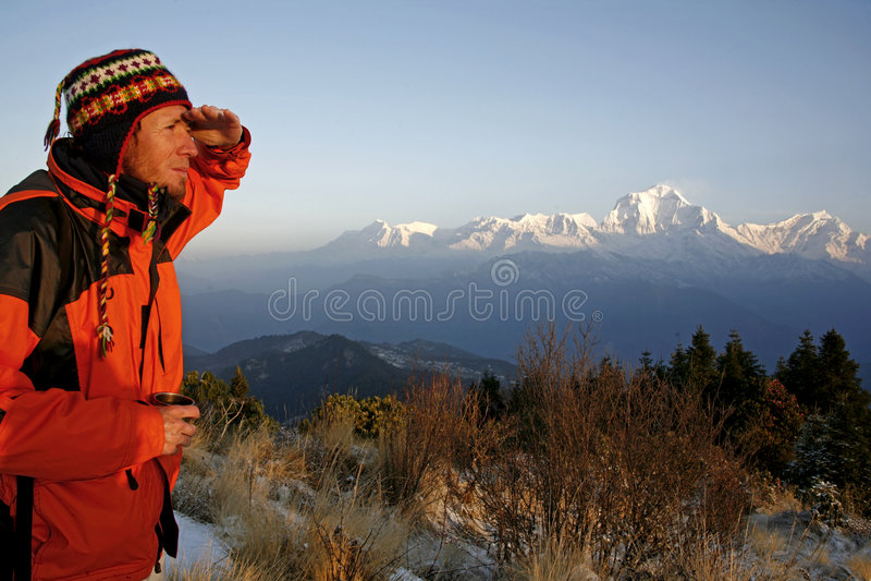 Alpiniste regardant une montagne image stock