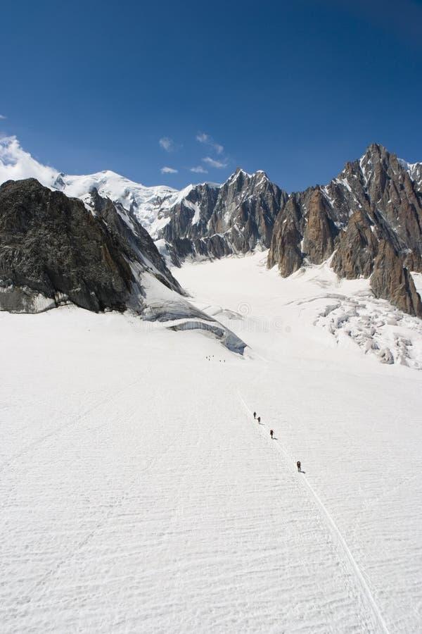 Alpinisten - Chamonix, Frankrijk stock foto's