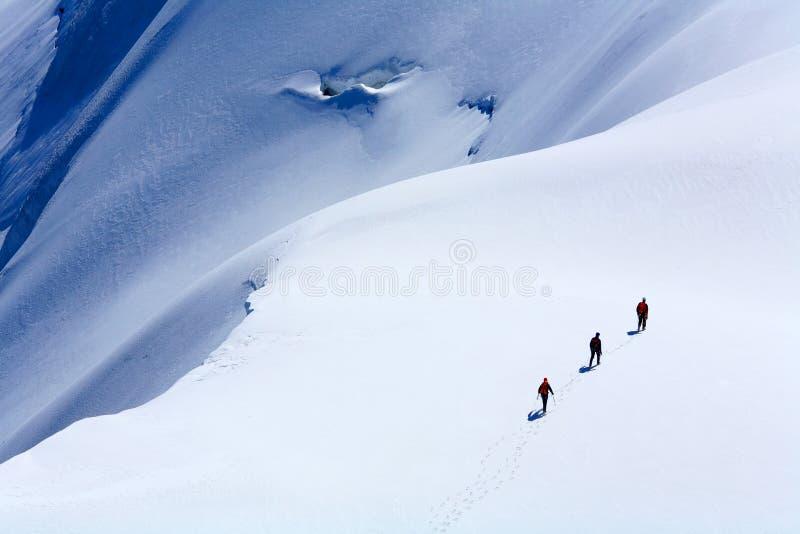 Alpinistes sur Mont Blanc du Tacul photo libre de droits