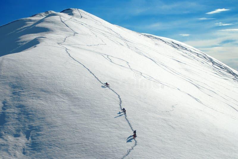 Alpinisti che arrampicano una montagna immagini stock libere da diritti